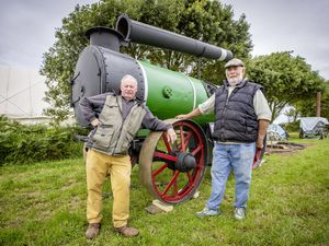 Vintage Agricultural Show chairman Ron Le Cras, left, and vice-chairman Rodney Dyke with a coup for the fourth year of the show, a glasshouse sterilising boiler which had been in storage for 40 years. It was cleaned and repainted by Guernsey Museums. (Picture by Sophie Rabey, 29820139)
